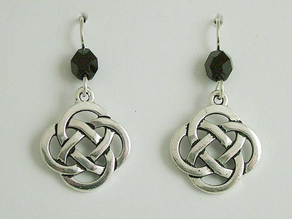 Pewter & Sterling Silver large Round Celtic Knot dangle Earrings- black glass