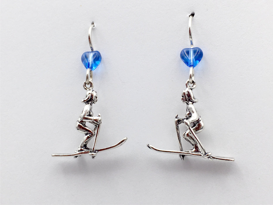 Sterling Silver Skier dangle earrings-boots, skiing-snow, downhill,winter