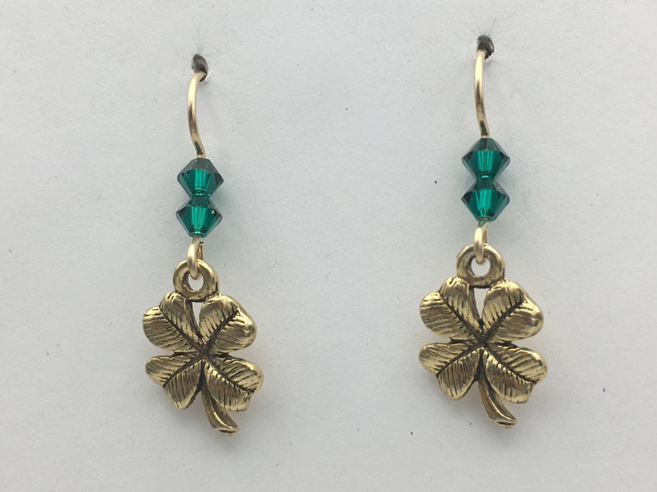 Gold tone Pewter & 14k gf 4 leaf clover dangle earrings-Good Luck-4H, clovers,