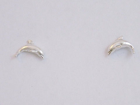 Sterling Silver & Surgical Steel  side view dolphin stud earrings- dolphins, sea