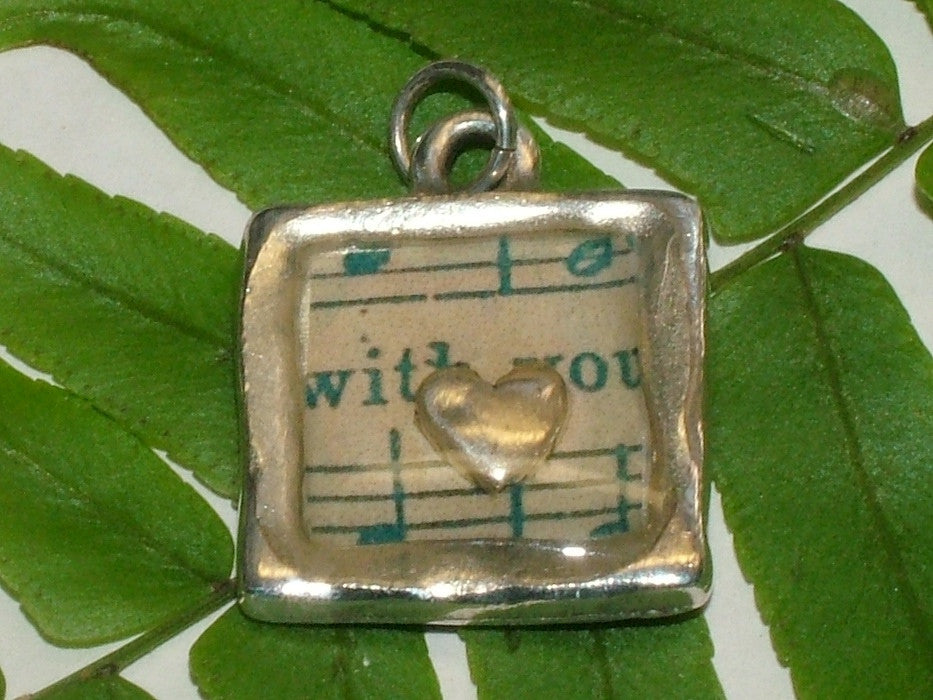 Pewter with vintage sheet music print and sterling silver heart pendant-resin,