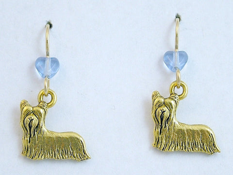Gold tone pewter yorkie terrier dog dangle earrings-silky, terriers, Skye,dogs