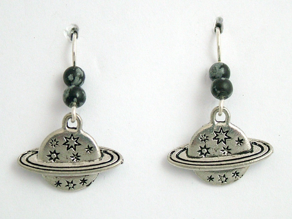 Pewter & Sterling Silver planet & stars dangle earrings-celestial,sky, astronomy