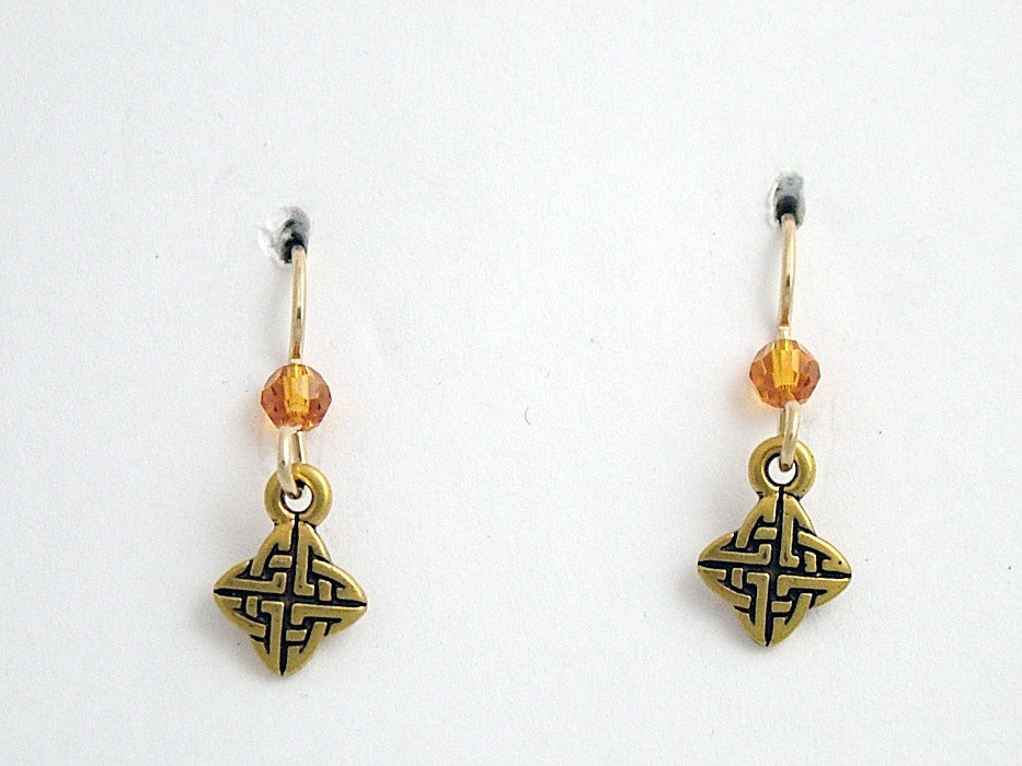 Gold tone Pewter &14k gold filled small Celtic knot earrings- topaz crystal
