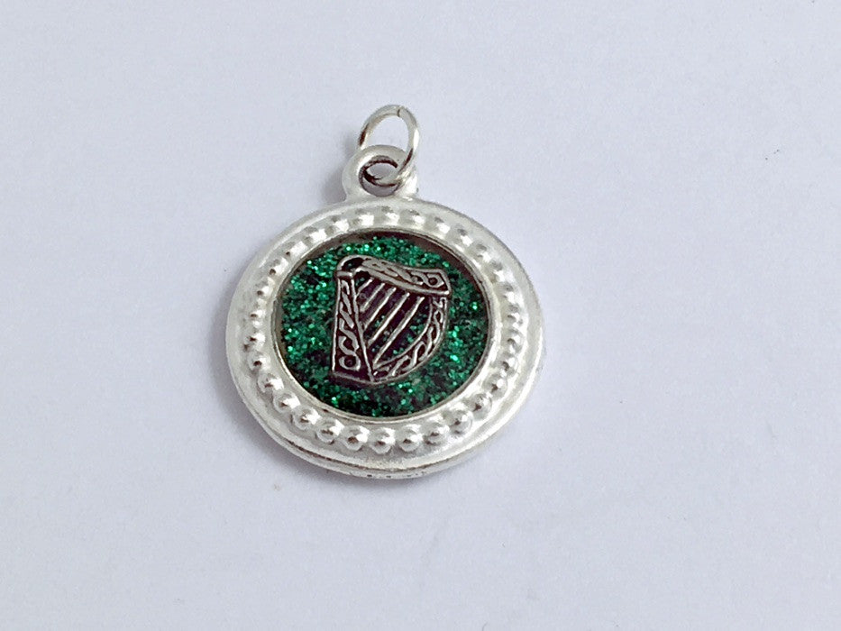 Pewter w/ green glitter paper, sterling silver Celtic Harp pendant-resin,Ireland