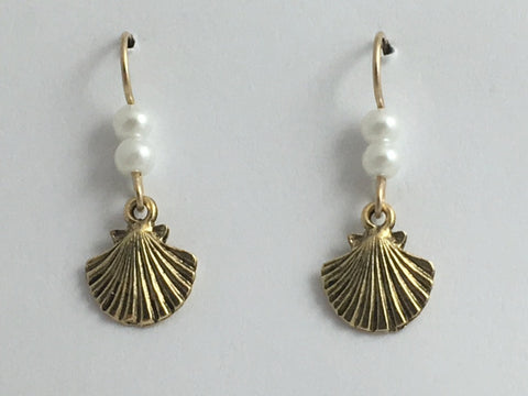 Goldtone Pewter & 14K GF shell earrings-ocean-coast-sea, beach, tidepool, shells