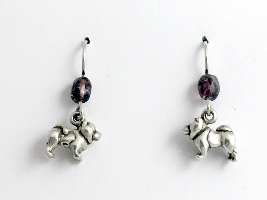 Sterling silver tiny Chow Chow dog dangle Earrings-darling, chows, dogs, canine