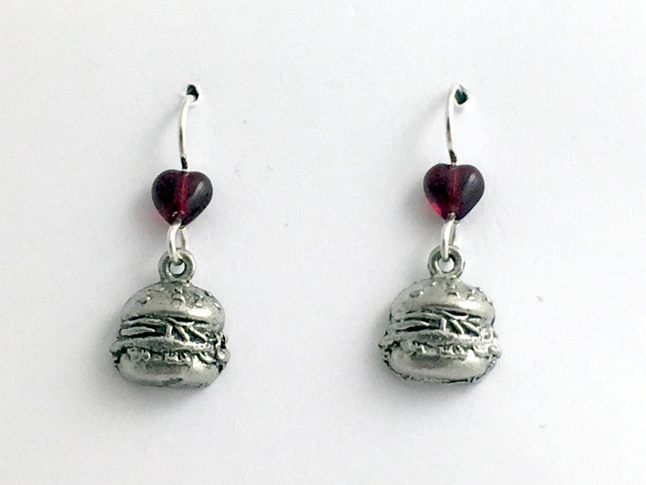 Pewter & Sterling Silver Hamburger on bun dangle earrings-burger, food, bbq-cook