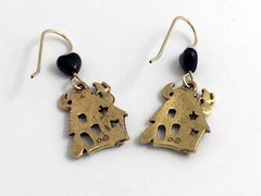 Goldtone Pewter & 14k gf  Haunted House dangle Earrings-Halloween, ghosts,
