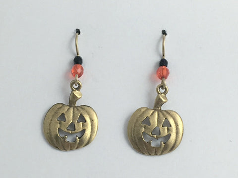 Goldtone Pewter & 14k gf Jack O Lantern dangle Earrings-Halloween, pumpkin