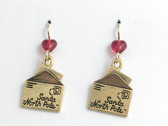 Gold tone Pewter & 14K GF Letter to Santa dangle Earrings-Post Office- holiday