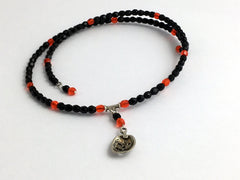 Black & Orange Glass Sterling Silver Jack O' Lantern Centerpiece Memory Wire Choker- Pumpkin, Halloween