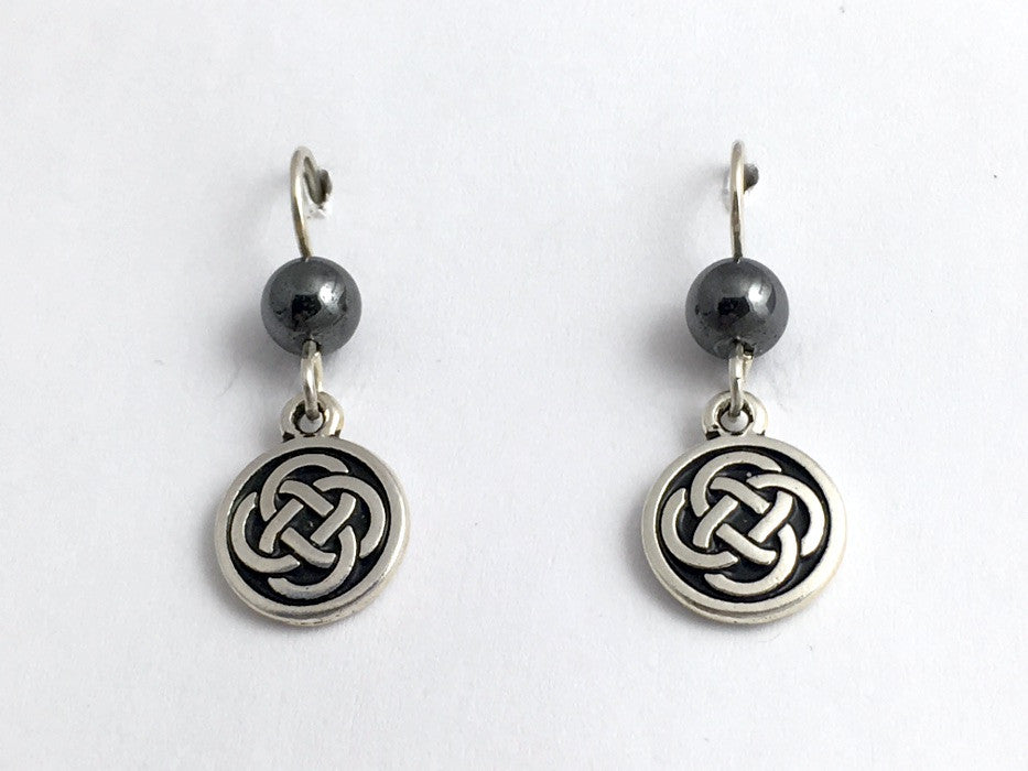 Pewter & Sterling Silver medium Round Celtic Knot dangle Earrings- Hematite
