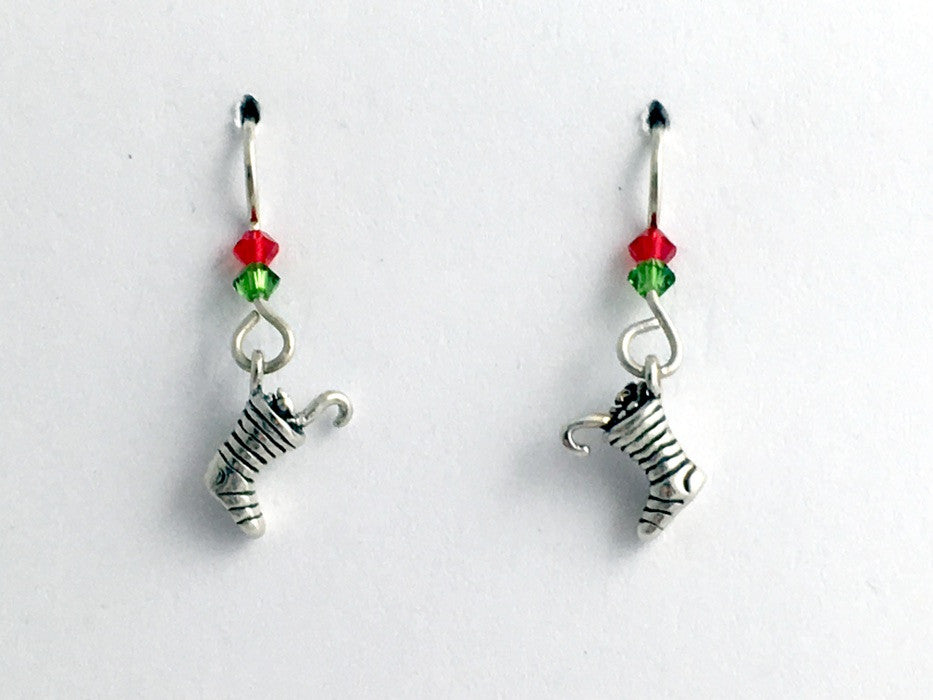 Sterling Silver tiny Christmas Stocking dangle earrings-holiday,stockings, santa