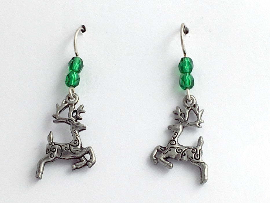 Pewter & Sterling Silver Reindeer with spiral dangle Earrings-Christmas- holiday