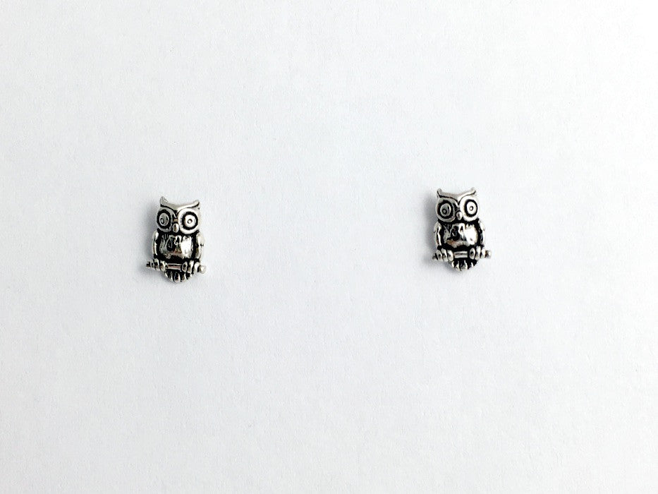 Sterling Silver and  Surgical Steel small Owl stud earrings- bird of prey-birds