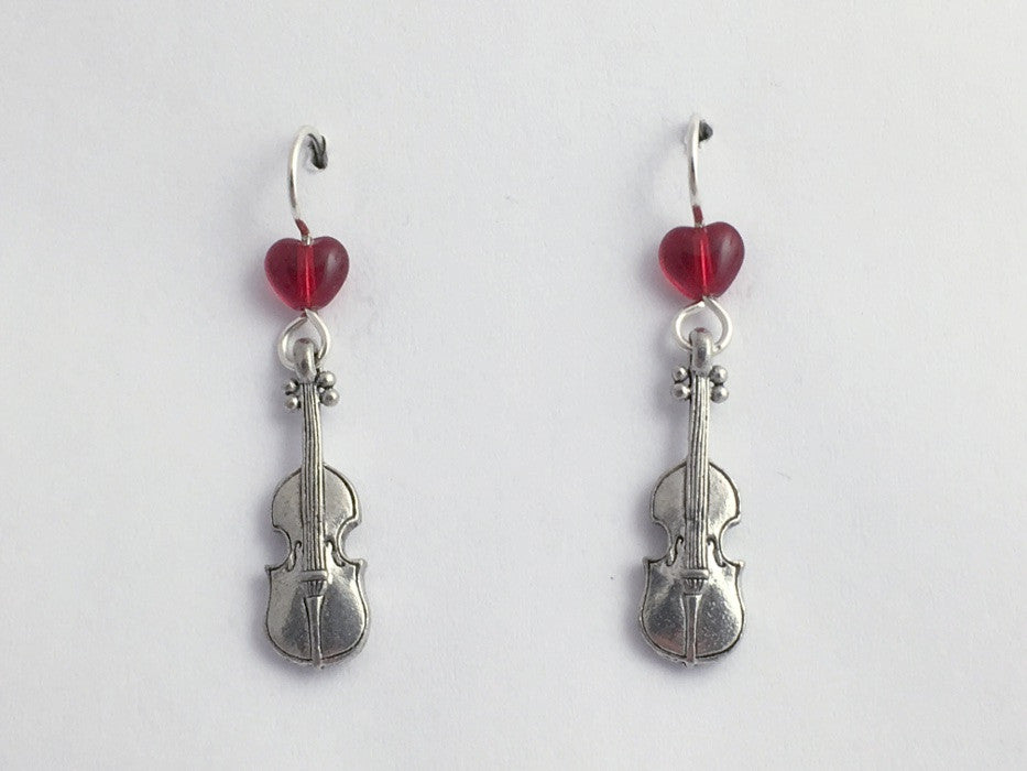 Pewter & sterling silver violin dangle earrings-music- fiddle, strings,orchestra
