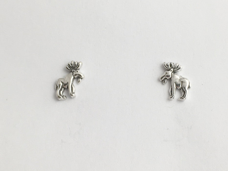 Sterling Silver & Surgical Steel small full body moose stud earrings- elk- bull