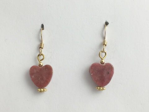 Rhodonite heart dangle earrings-love,14k gold filled wire, Valentine, hearts