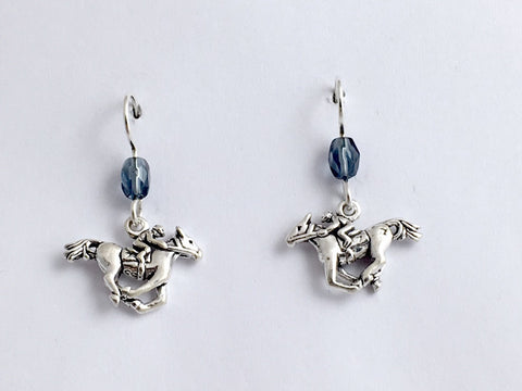 Sterling silver horse & rider dangle earrings-horses,equine, race, jockey,racing