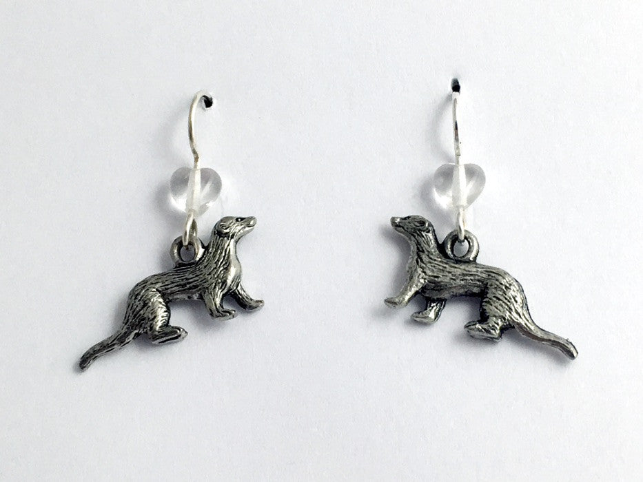 Pewter & Sterling silver ferret dangle earrings- polecat, weasel, ferrets,heart