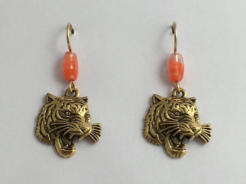 Gold tone Pewter & 14k GF Growling Tiger face dangle earrings-Tigers,  big cat