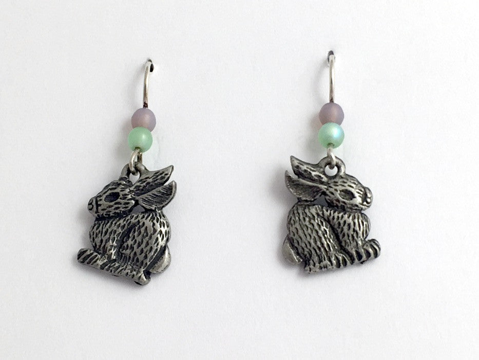 Pewter & Sterling silver  bunny earrings-rabbit- bunnies, rabbits, Easter
