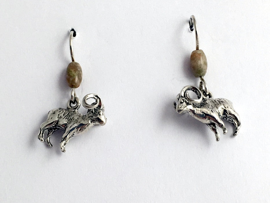 Sterling silver 3-D bighorn sheep dangle earrings- Rocky mountain,Autumn jasper