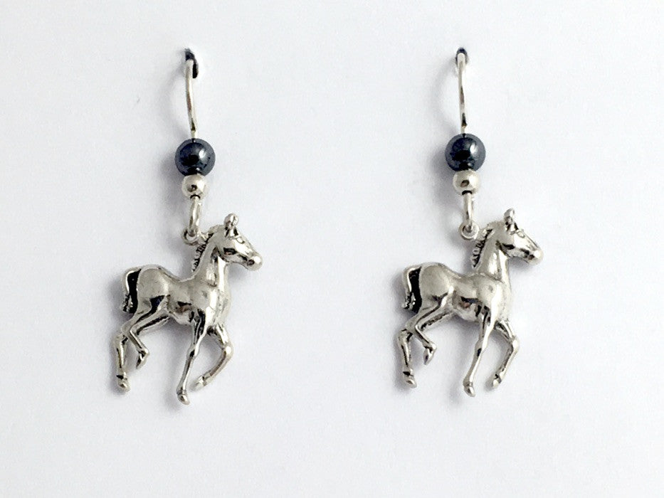Sterling silver young horse dangle earrings- foal, colt, horses,equine,hematite