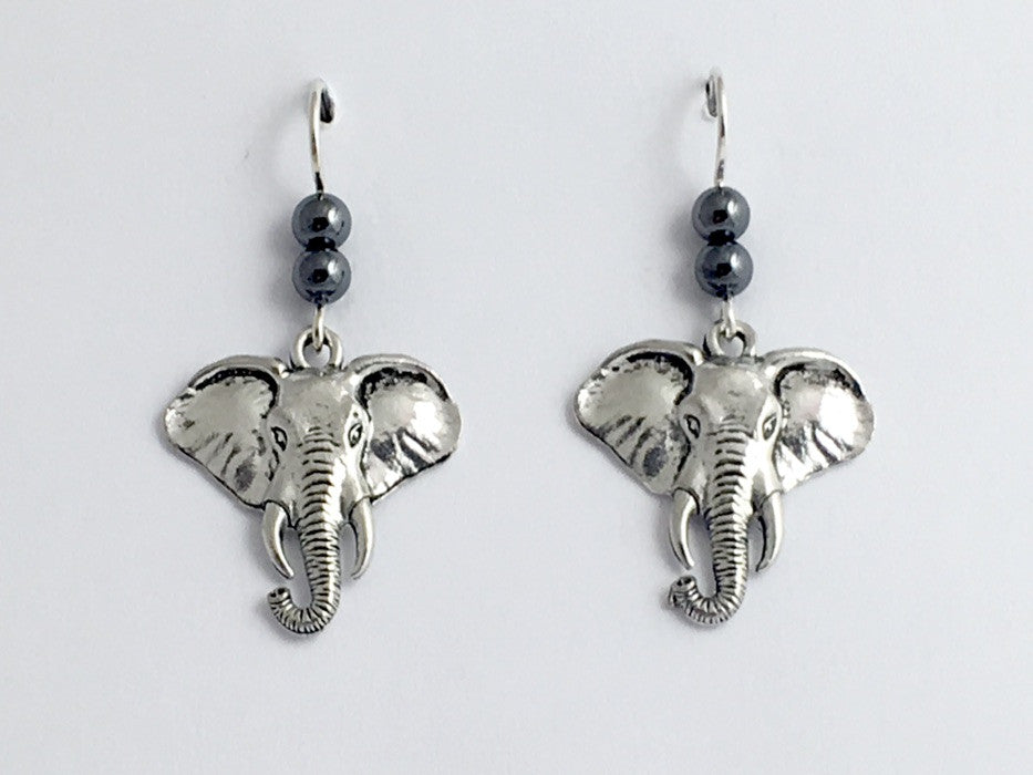 Pewter & sterling silver large elephant head dangle earrings-elephants, trunk