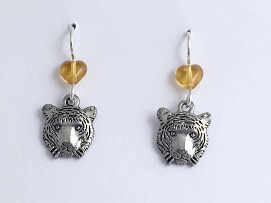 Pewter &  Sterling silver Tiger face dangle earrings-Tigers, head, big cat,
