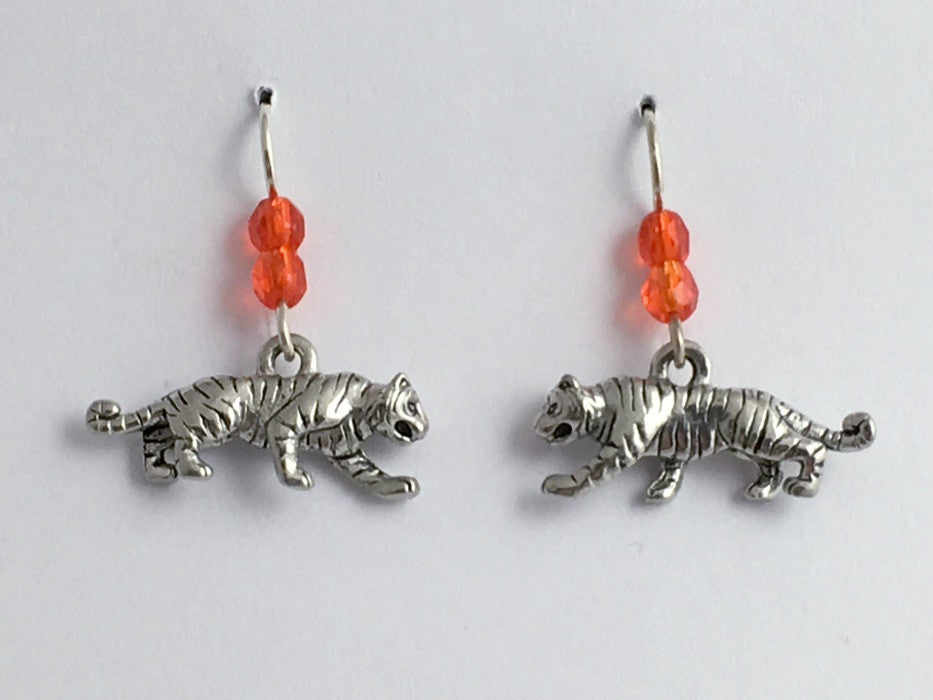 Pewter &  Sterling silver full body 3-D Tiger dangle earrings-Tigers, big cat,
