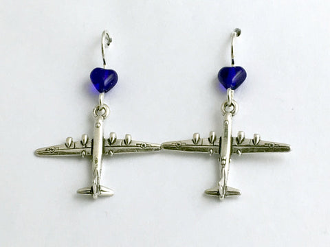 Sterling Silver B52 Bomber Airplane dangle earrings- Plane, Military, Pilot,