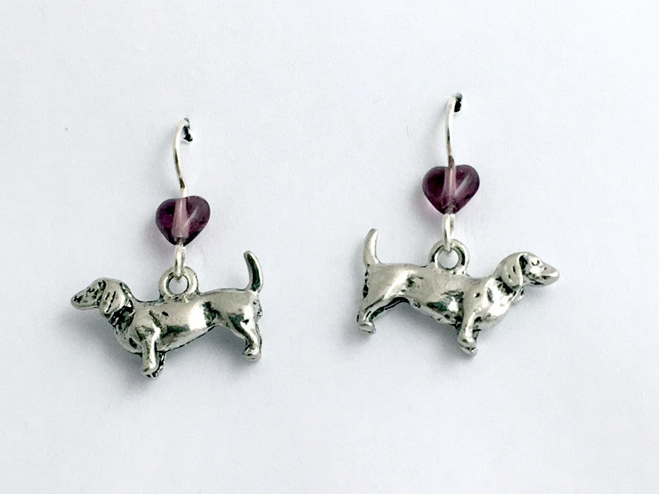 Pewter & sterling silver dachshund dog earrings-weiner dogs, canine, doxie,heart