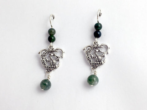 Sterling Silver Dragon on moon dangle  earrings-moss agate-Fantasy,dragons