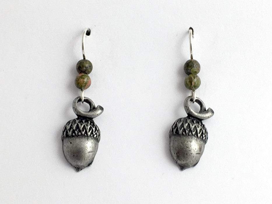 Pewter & Sterling Silver acorn dangle earrings-oak, tree, unakite, acorns, oaks