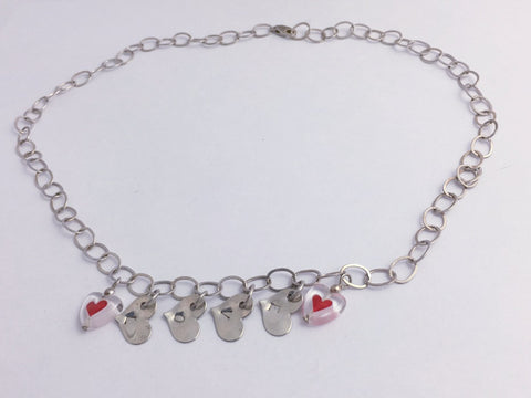 18 inch sterling silver cable chain Love Necklace, glass hearts, Heart