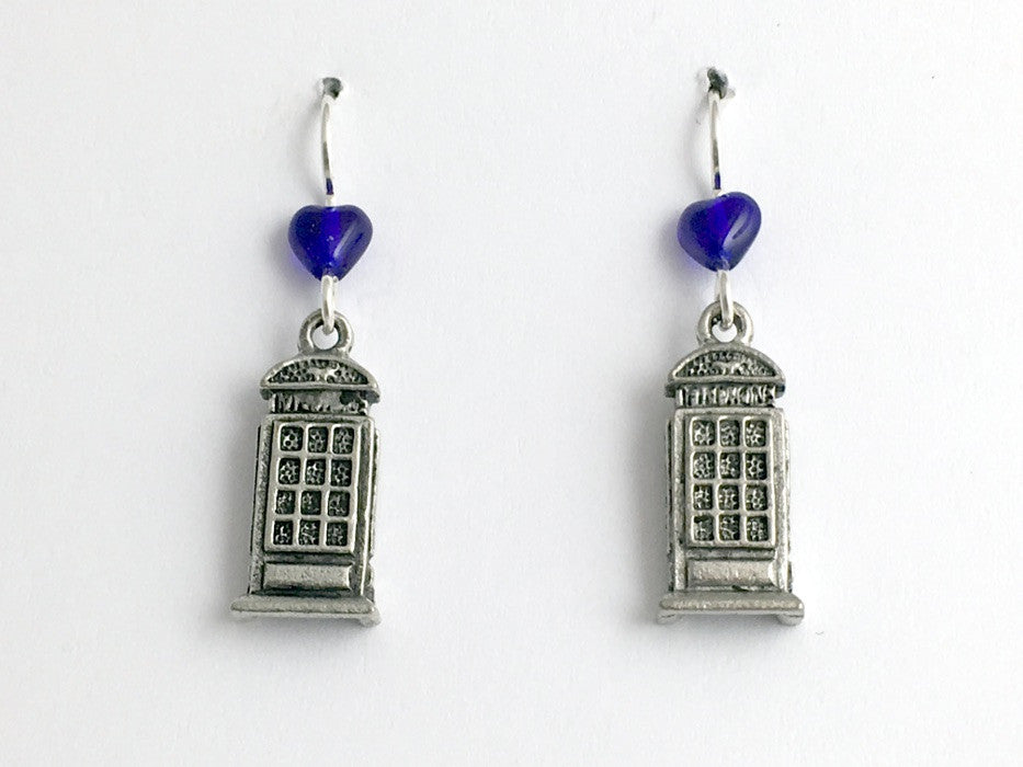 Pewter & sterling silver telephone booth dangle earrings-tardis-like, telephones