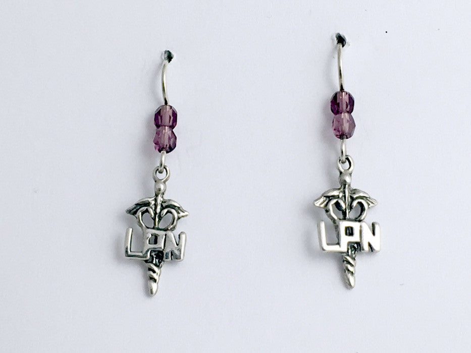 Sterling Silver Caduceus LPN dangle earrings-Medicine-nursing- Medical, nurse