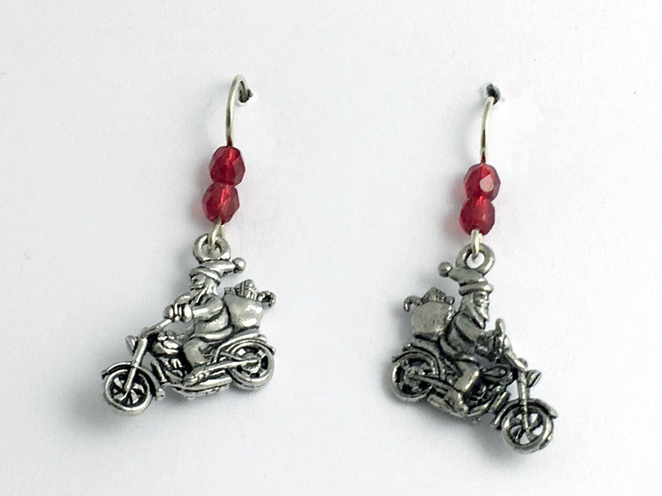 Pewter & Sterling Silver Santa on motorcycle dangle Earrings-Christmas- holiday