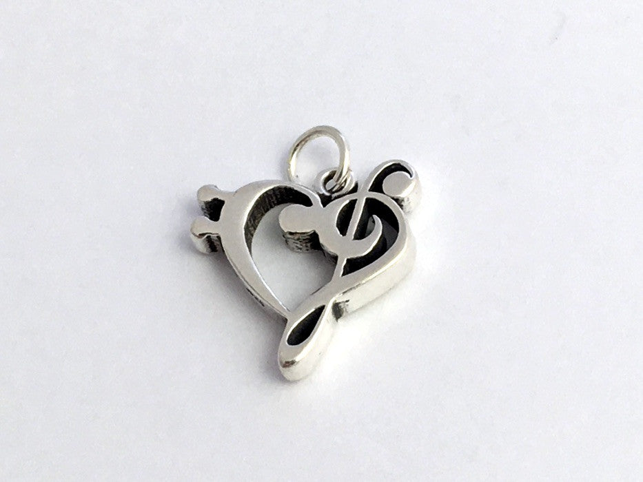 Sterling Silver Treble and bass clef heart charm or pendant, music, band, love