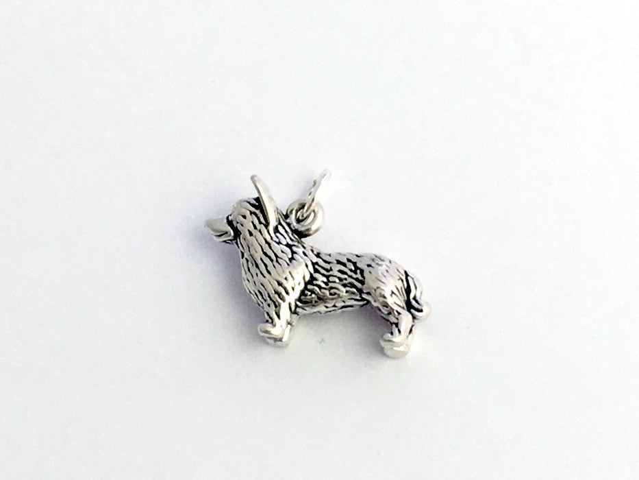 Sterling Silver  3-D Corgi dog charm or pendant- Cardigan Welsh Corgis, dogs