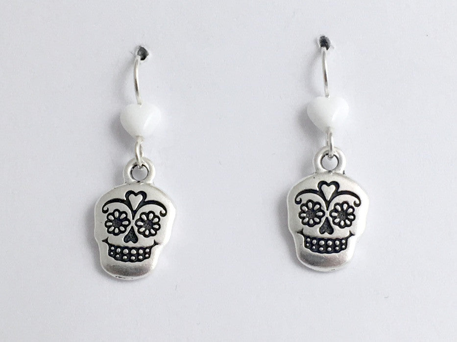 Pewter & Sterling silver Sugar Skull dangle Earrings-Calavera- Day of the Dead