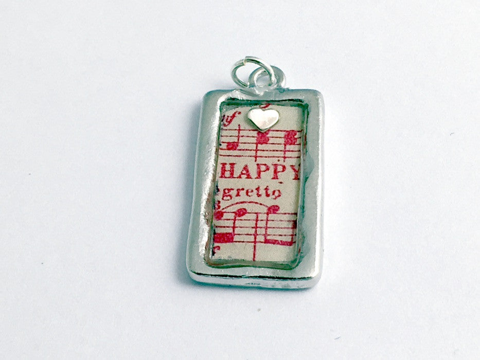 Pewter frame pendant, sheet music, sterling silver heart-resin, Happy, musician