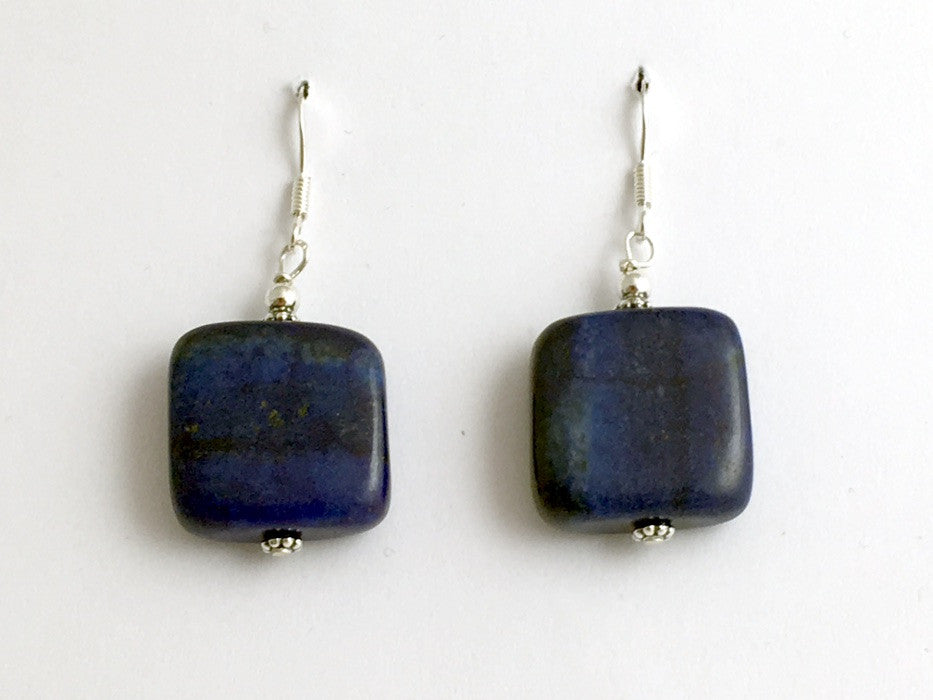 Sterling silver and Lapis Lazuli square bead dangle earrings- 1 5/8 inch long,
