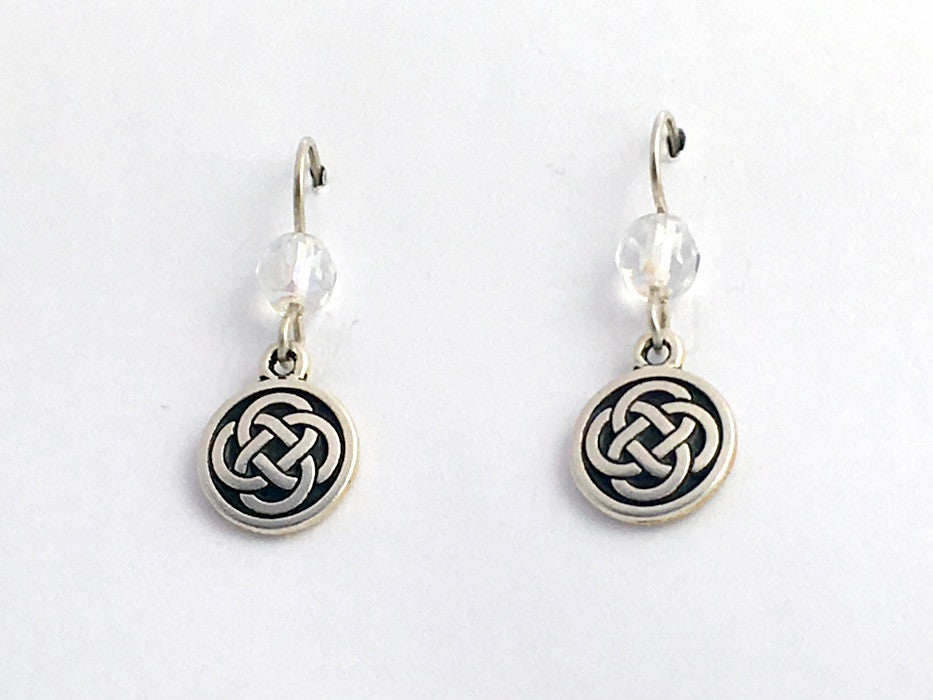 Pewter & Sterling Silver medium Round Celtic Knot dangle Earrings- iridescent