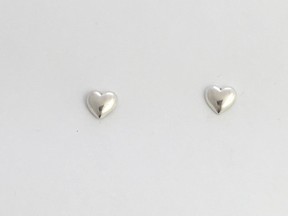Sterling Silver and Surgical Steel small heart stud earring- hearts, love, 1/4""