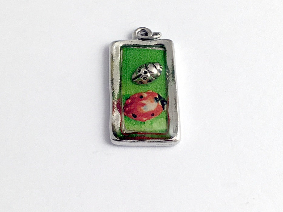 Pewter frame, ladybug print, sterling silver lady bug pendant-resin,ladybugs
