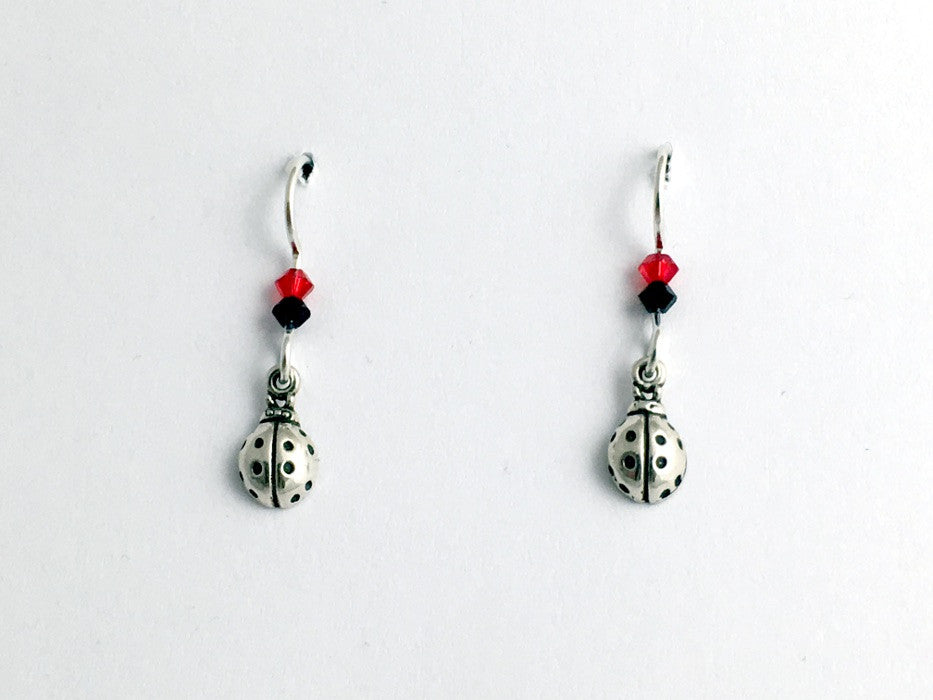 Sterling Silver tiny Ladybug dangle earring- red/black-insect, lady bug, bugs