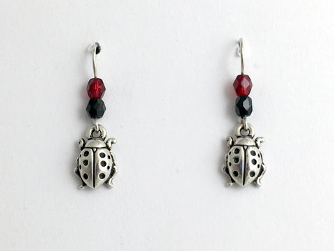 Pewter & Sterling Silver  Ladybug dangle earrings- red & black glass , ladybugs